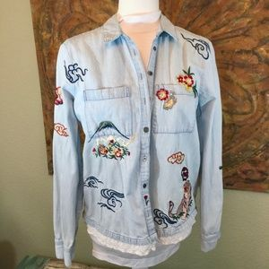 Holding Horses Embroidered Isle Chambray Asian S